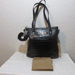 Patricia Nash Lundy Leather Convertible Crossbody–Black Croco NWT